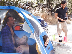 Naughty chicks hardcore threesome fuck in tent