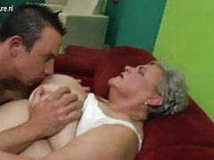 Real granny fucks her young lover