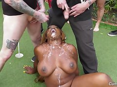 Wbony whore fucked in excellent modes by a group of males