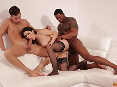 Dispirited hot and effusive Valentina Nappi gets analfucked by two studs
