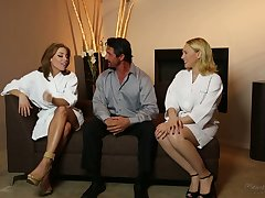 Circa lubed horny masseuse Britney Amber thirsts to enjoy MFF threesome