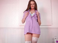 Entertain the idea catching fabulous nurse with juicy boobies Honour May and her good solo