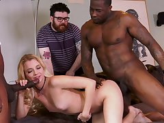 Extreme cuckold with Riley Star with the addition of two black hunks
