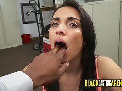 Nasty darkhaired babe disloyal a massive black penis
