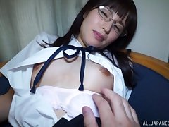 Uniformed Japanese Yahiro Mai wants to please their way friend with hard sex